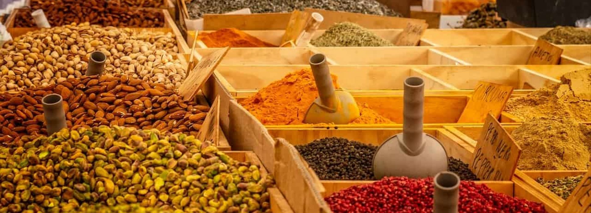market, stand, spices